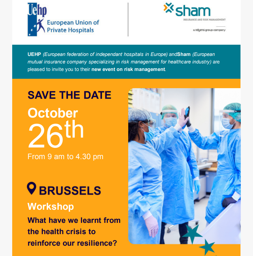 """SAVE THE DATE: UEHP/SHAM workshop """"What have we learnt from the health crisis to reinforce our resilience?"""""""